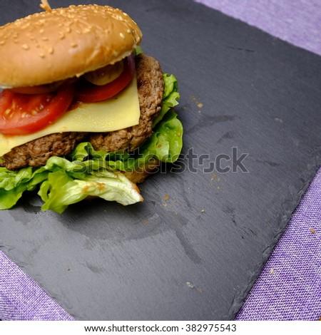 homemade hamburger - stock photo
