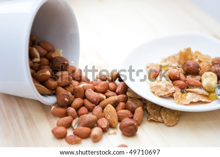 Honey and nuts for cake - stock photo