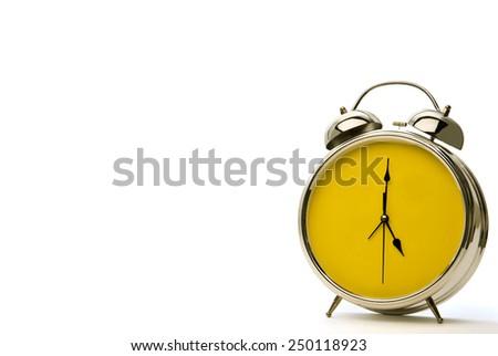 Horizontal Shot Old Style Vintage Alarm Clock With Copy Space/ Alarm Clock With Copy Space - stock photo