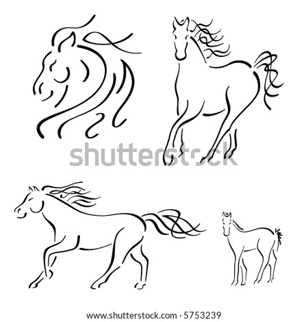 * Horse Design Set - stock photo