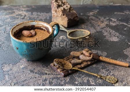 Hot chocolate with cinnamon, cocoa - stock photo