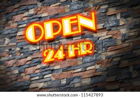24 hour drive through illustration of a neon sign - stock photo