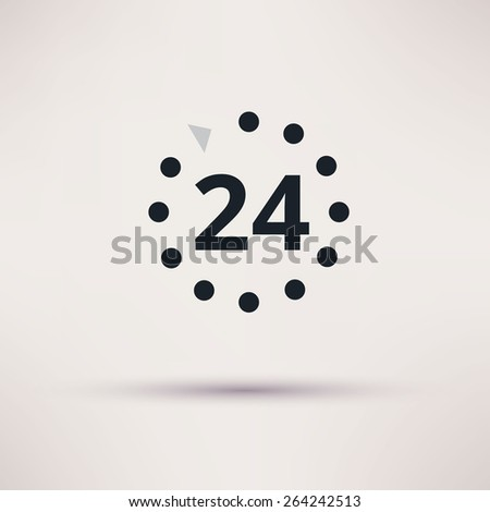 24 hours icon on light background - stock photo