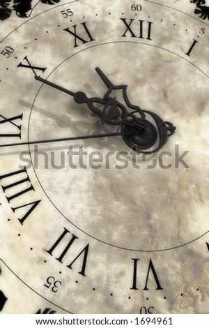 10 hours 49 minutes. Old clock. - stock photo