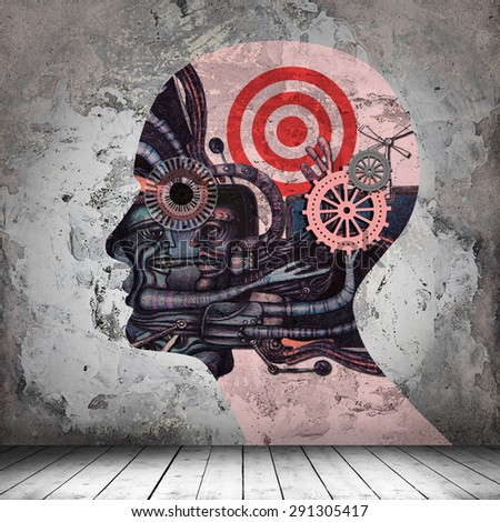 human head,drawings ,gears interior room  with copyspace for text and wall background - stock photo