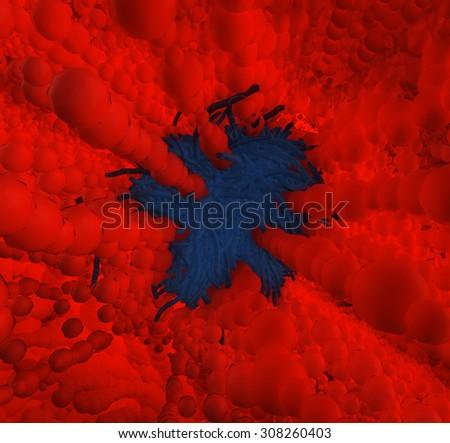Human Immunodeficiency Virus Bacteria Microscopic in Blood Stream - stock photo