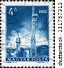 HUNGARY - CIRCA 1964: A stamp printed in Hungary shows  Pecs TV Tower, circa 1964 - stock photo