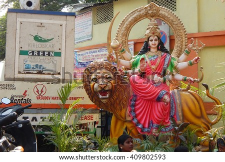 HYDERABAD,INDIA-APRIL 22: closeup of Hindu Goddess Durga in a temporary temple out doors on Hanuman jayanti celebration and procession April 22,2016 in Hyderabad,India                    - stock photo