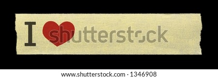 """""""I Love"""" on a paper adhesive tape - stock photo"""