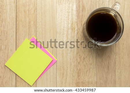 i love you sticky note and coffee on wooden table background - stock photo