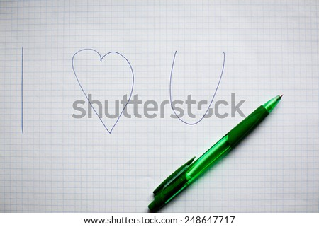 """""""i love you"""" text written by pen - stock photo"""
