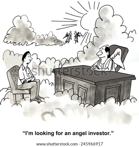 """I'm looking for an angel investor."" - stock photo"