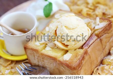 ice cream on honey toast - stock photo