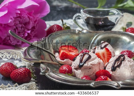 ice, cream, rustic, unusual, strawberry, italian, granita, cold, dessert, snack, cone, old, gourmet, Strawberry ice cream with balsamic vinegar on a wooden background. Selective focus - stock photo