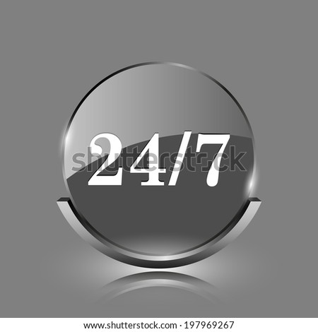 24 7 icon. Shiny glossy internet button on grey background.  - stock photo