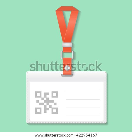 Identification badge card with Bar and Qr code, Scan barcode - stock photo