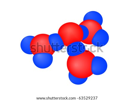 illustration a molecule with atoms on a white background - stock photo