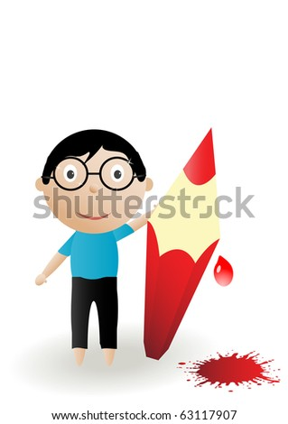 illustration boy, color pencil with blots on a white background - stock photo