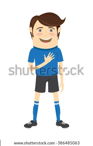 illustration Funny soccer football player wearing blue t-shirt standing singing hymn with hand on his heart and smiling - stock photo