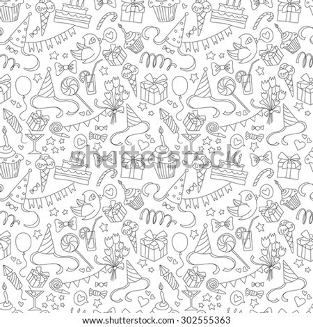 illustration Happy birthday party doodle black and white seamless pattern - stock photo