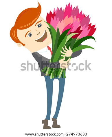 illustration Hipster funny man holding holding flowers. Flat style - stock photo