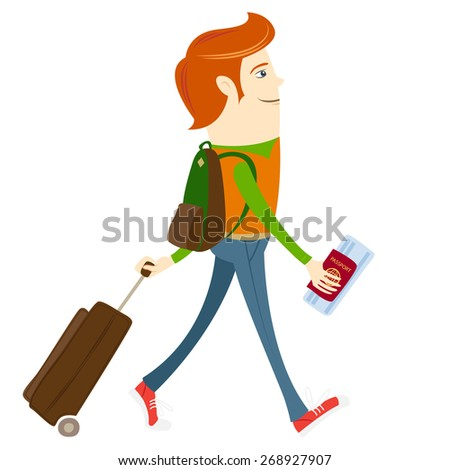 illustration Hipster-traveler walking and holding passport, ticket and suitcase - stock photo
