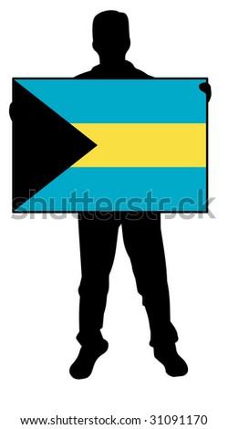 illustration of a man holding a flag of bahamas - stock photo