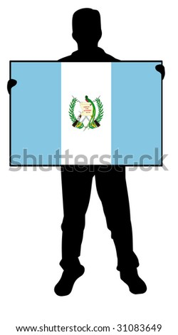 illustration of a man holding a flag of guatemala - stock photo