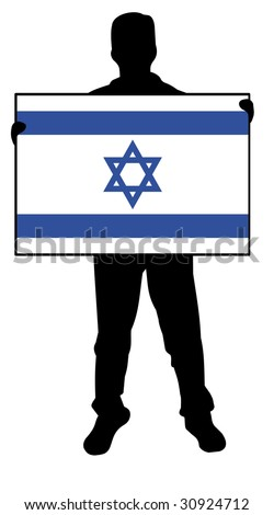illustration of a  man holding a flag of israel - stock photo