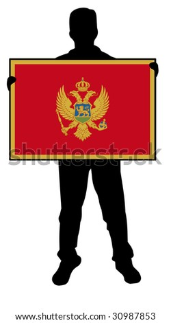 illustration of a  man holding a flag of montenegro - stock photo