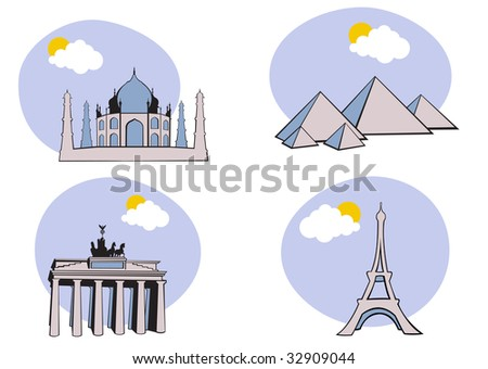 illustration of All Over the World Travel. Includes the icons of Acropolis, The pyramid of Kheops, Tag Mahal and Eiffel tower. - stock photo