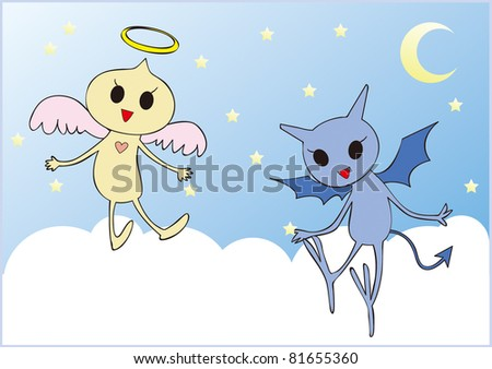 Illustration of Baby Angel and Devil. - stock photo