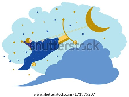 illustration of baby dreams in the night - stock photo