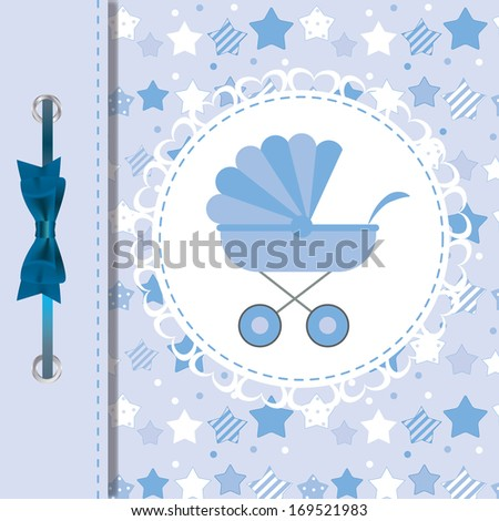 illustration of BLUE baby carriage for newborn boy - stock photo