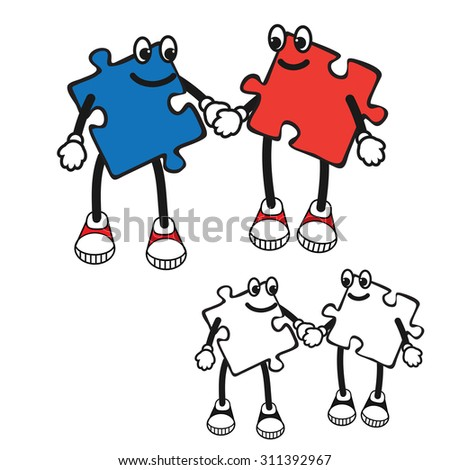 Illustration of Cartoon puzzle character. Pop art comic character of jigsaw. puzzle character boy and girl keep hand in hand. Comics caricature of kids character - stock photo