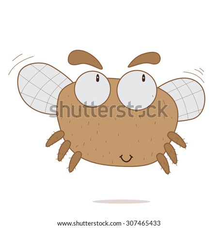 Illustration of fly. Cute fly on isolated background.  Baby, kid, child of fly. Cute  Insect with wings. Cartoon fly flaps its wings and flies - stock photo