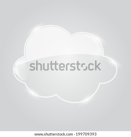 Illustration of Glass  Cloud Icon. - stock photo
