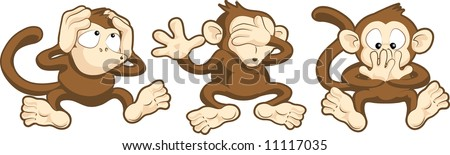 illustration of hear no evil, see no evil, speak no evil monkeys - stock photo