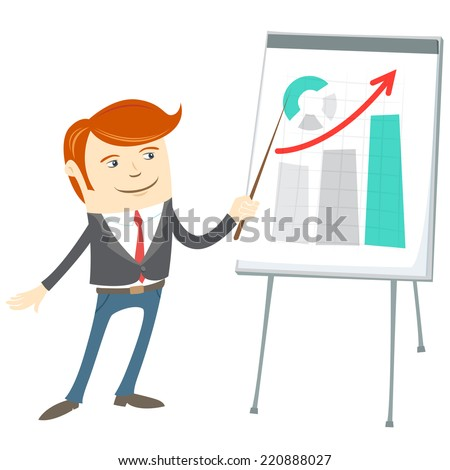Illustration of  Office man presenting a graph on flipchart - stock photo