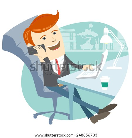 Illustration of  Office man sitting at his working desk with phone - stock photo
