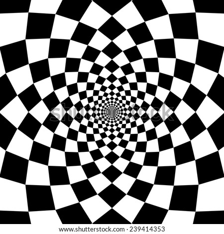 illustration of optical illusion black and white chess background - stock photo