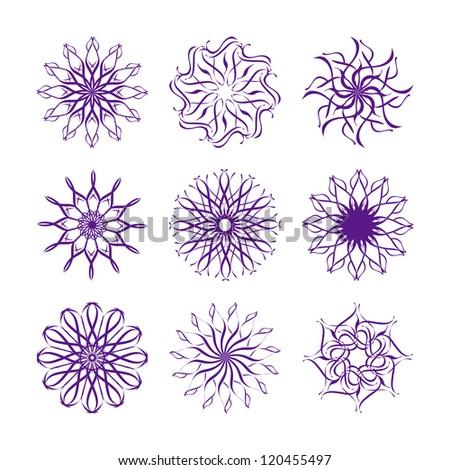 illustration of set of snowflakes isolated on white background - stock photo
