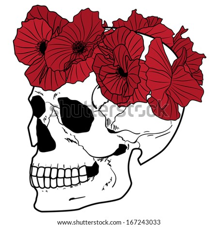 illustration of the skull and poppies in red, black and white colors - stock photo