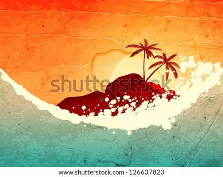 illustration of tropical sea and island with palms at sunset - stock photo