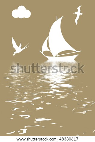 illustration sailboat in ocean - stock photo