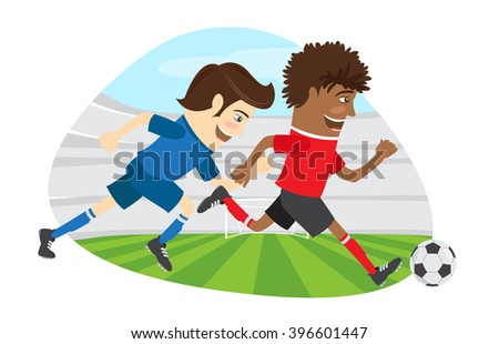 illustration Two funny men soccer player playing football competition fighting for a ball  - stock photo