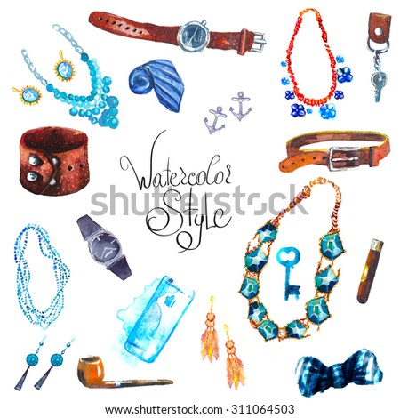illustration watercolor set of jewellery items. Hand drawn accessories - stock photo
