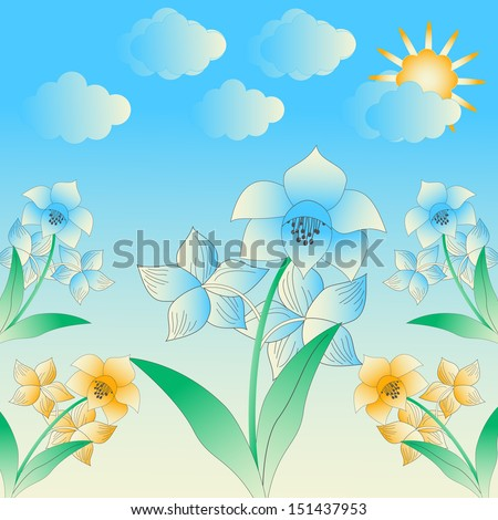 illustration with abstract flowers. Raster copy  - stock photo