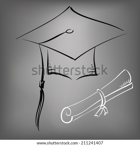 illustration with black graduation cap on a gray background - stock photo