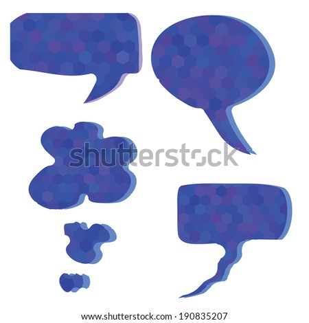 illustration with  blue speech bubbles for your design - stock photo